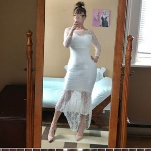 WHITE LACE MERMAID DRESS LONG SLEEVES DISTRESSED